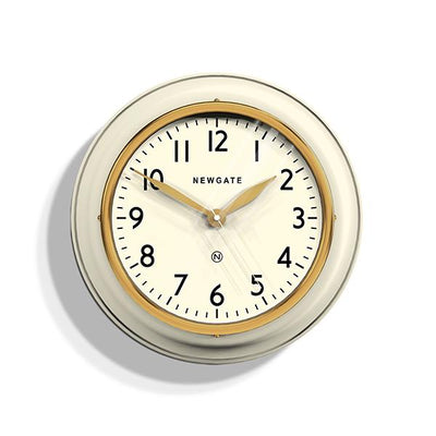 Classic Kitchen Clock – White & Gold Brass – Newgate Cookhouse COOK397LW
