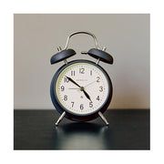 Classic Twin-Bell Alarm Clock - Navy Blue - Silent 'No Tick' - Newgate Brick Lane CGAM371MPRBL (homeware)