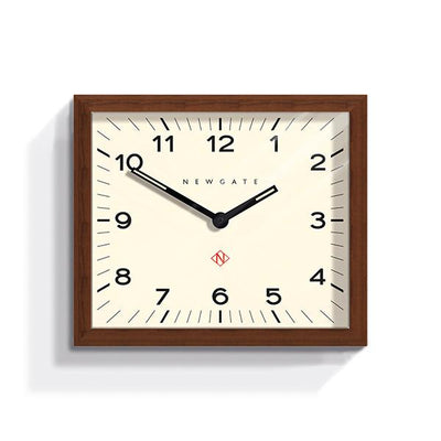 Dark Wood Wall Clock - Mid-Century Rectangular - Newgate Mr Davies MRDAV162DO35