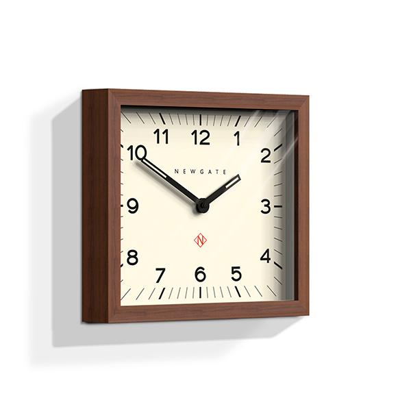 Dark Wood Wall Clock - Mid-Century Rectangular - Newgate Mr Davies MRDAV162DO35 (skew)
