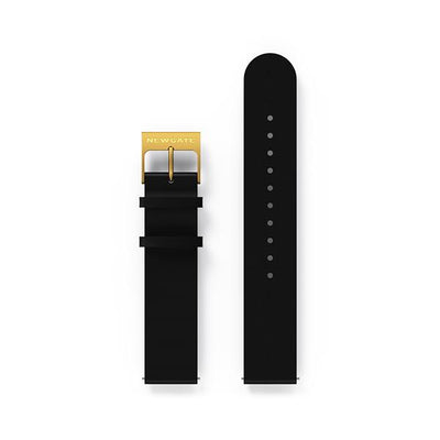 G6 Black Leather Watch Strap - Brass Clasp
