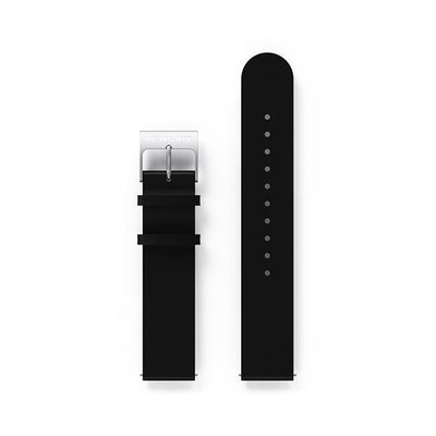 G6 Black Leather Watch Strap - Steel Clasp