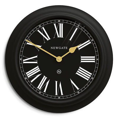 Newgate World large Chocolate Shop wall clock in Black with Gold hands and Roman numeral dial