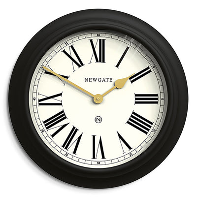 Newgate World large Chocolate Shop wall clock in Black with Gold hands and cream Roman numeral dial