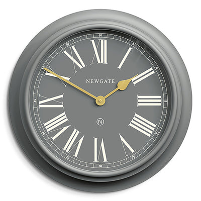 Newgate World large Chocolate Shop wall clock in Posh Grey with Gold hands and Roman numeral dial