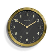 Large Brass Kitchen Wall Clock - Black Dial - Newgate Spy SPY227RAB