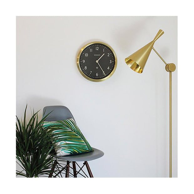 Large Brass Kitchen Wall Clock - Black Dial - Newgate Spy SPY227RAB (homeware) 1 copy