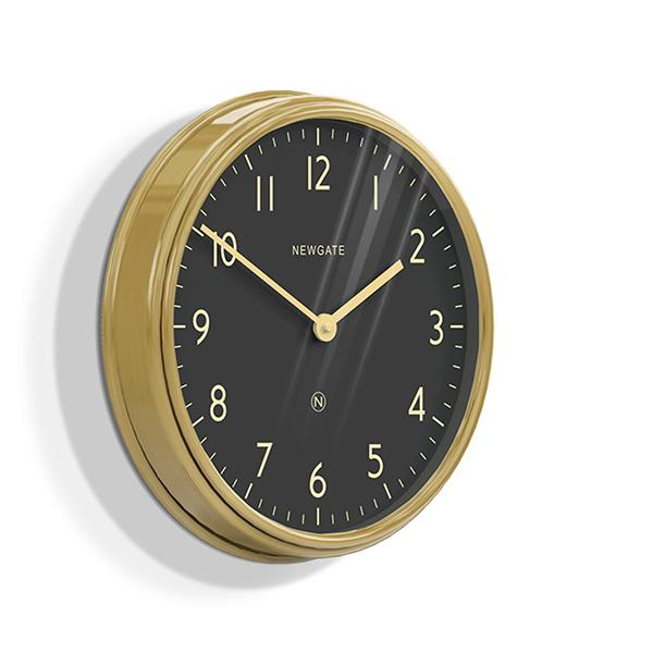 Large Brass Kitchen Wall Clock - Black Dial - Newgate Spy SPY227RAB (skew)