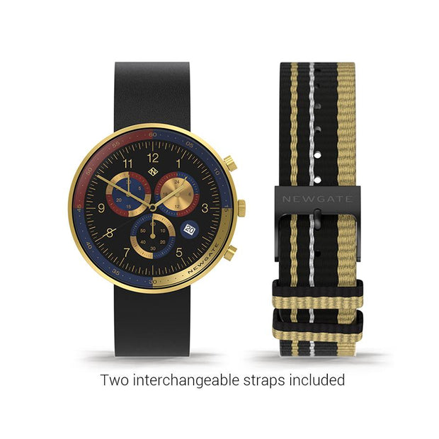 Men's Chronograph Watch – Black Leather Gold Stripe – British Designed Quartz Analog - Modern Subdial - Newgate WWG6VEG - VEGAS - strap