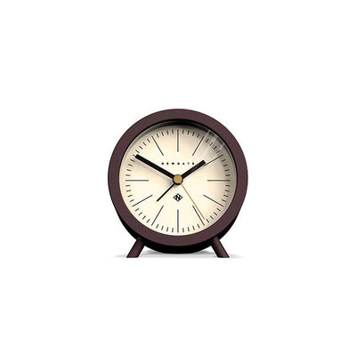 Mid-Century Modern Alarm Clock - Silent 'No Tick' - Brown Black - Newgate Fred FRED414CHK