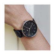 Minimalist Black & Steel Leather Watch - Modern Contemporary Men's Women's - British Design - Newgate Drumline WWMDLNRS040LK (accessory)