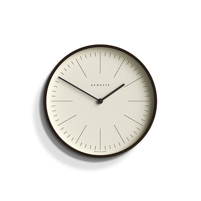 Small Minimalist Wall Clock - Modern Dark Plywood - Newgate Mr Clarke MRC160DPLY28
