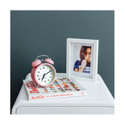 Modern Alarm Clock - Bright Colour Pink - Silent 'No Tick' - Newgate Echo CBM134MPK (room decor 2)