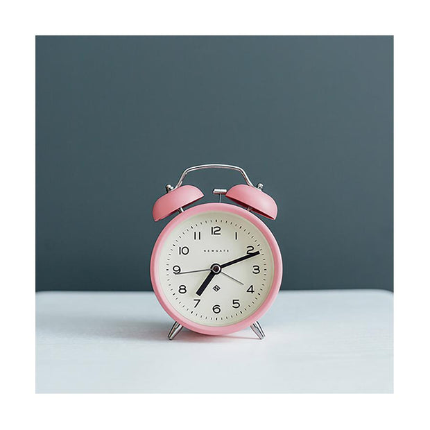 Modern Alarm Clock - Bright Colour Pink - Silent 'No Tick' - Newgate Echo CBM134MPK (room decor)
