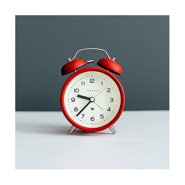 Modern Alarm Clock - Bright Colour Red - Silent 'No Tick' - Newgate Echo CBM134FER (room decor)