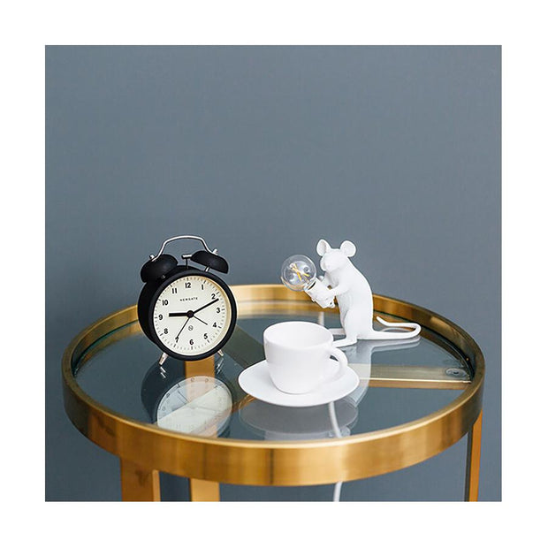 Modern Black Twin-Bell Alarm Clock - Newgate Charlie Bell CBM74K (room decor)