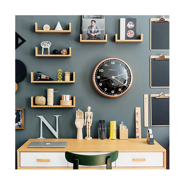 Modern Copper Wall Clock - Silent 'No Tick' - Black Dial - Newgate Chrysler WAT407RAC (room decor)