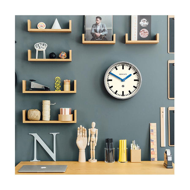 Modern Industrial Wall Clock - Galvanized Metal - Blue Hands - Newgate LUGG667GALBL HOMEWARE
