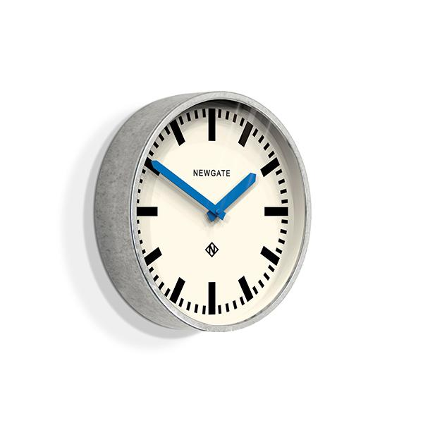 Modern Industrial Wall Clock - Galvanized Metal - Blue Hands - Newgate LUGG667GALBL (skew)