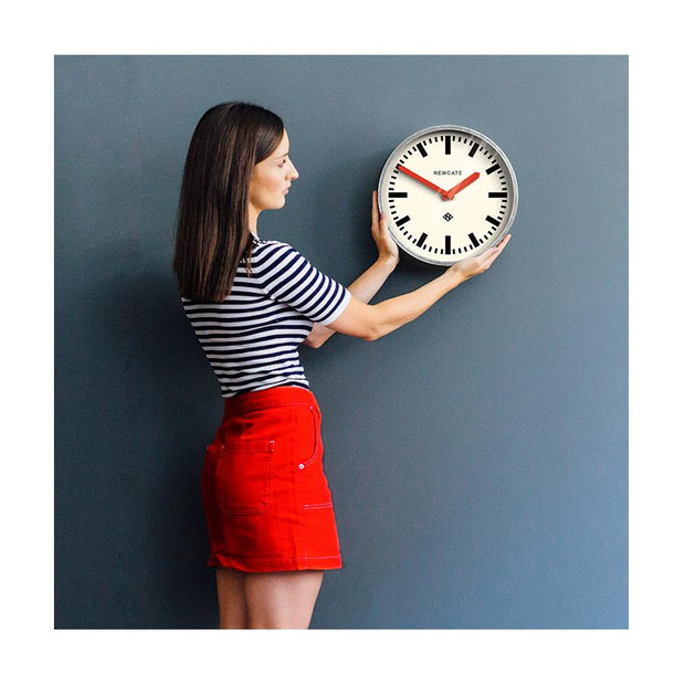Modern Industrial Wall Clock - Galvanized Metal - Red Hands - Newgate LUGG667GALR - LIFESTYLE