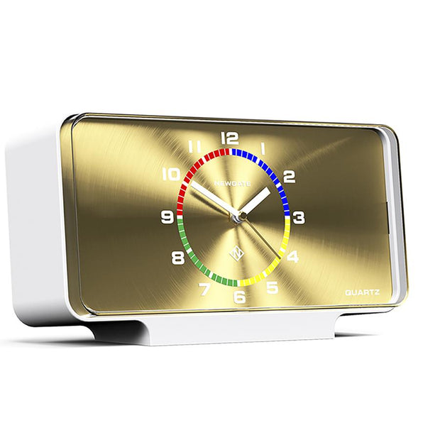 Modern Mantel Clock - Contemporary White Gold - Newgate Planet MAN-PLA696PW (skew)