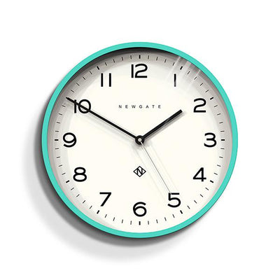 Modern Wall Clock - Bright Colour Turquoise Blue - Newgate Echo NUMTHR129AM
