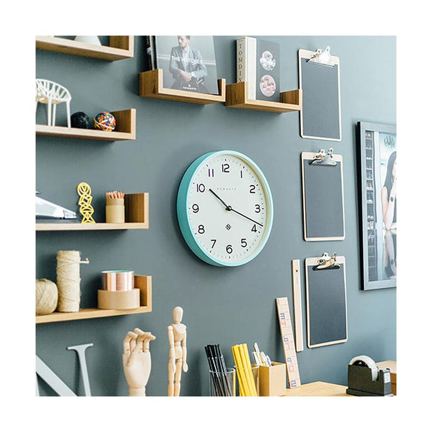 Modern Wall Clock - Bright Colour Turquoise Blue - Newgate Echo NUMTHR129AM (homeware) 1 copy