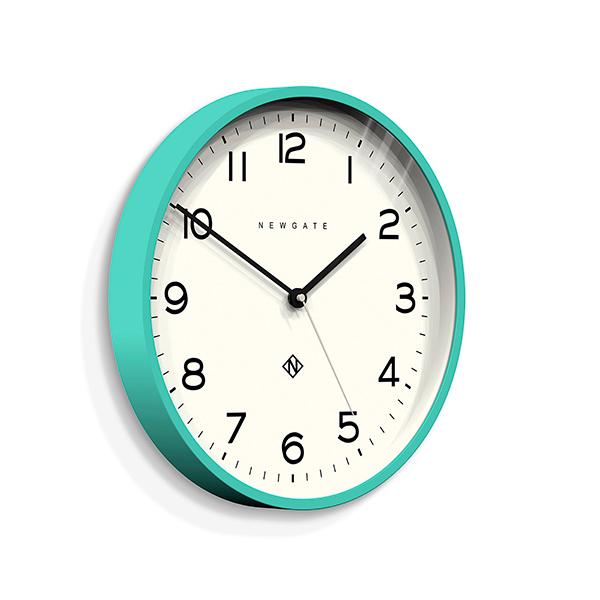 Modern Wall Clock - Bright Colour Turquoise Blue - Newgate Echo NUMTHR129AM (skew)