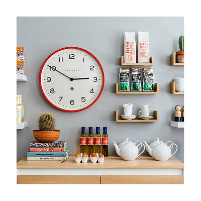 Red Kitchen Clock - Large Modern Wall Clock - Newgate Echo NUMONE149FER (room decor) 1 copy
