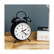 Retro Black Twin-Bell Alarm Clock - Silent 'No Tick' - Newgate Manchester CGAM11MK (room decor)
