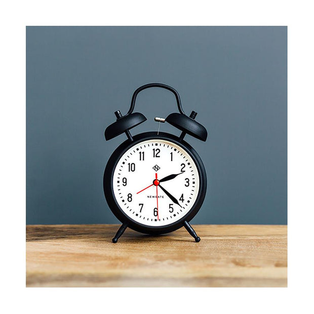 Retro Black Twin-Bell Alarm Clock - Silent 'No Tick' - Newgate Manchester CGAM11MK (homeware)