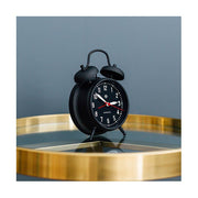 Retro Black Twin-Bell Alarm Clock - Silent 'No Tick' - Newgate Manchester CGAM17MK (homeware)