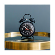 Retro Black Twin-Bell Alarm Clock - Silent 'No Tick' - Newgate Manchester CGAM17MK (room decor)