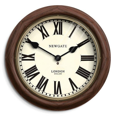 Roman Numeral Station Wall Clock - Wood Brass - Newgate Kings Cross KCS77DOB
