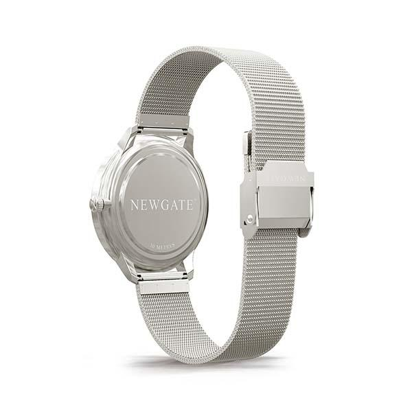 Silver Milanese Mesh Watch - Stainless Steel - Men's Women's Smart Dress - British Design - Newgate Blip WWMBLPVS026MVS (back)