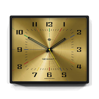 Square Wall Clock - Mid-Century Modern Gold Brass - Newgate Box Office BOXOF686CK front