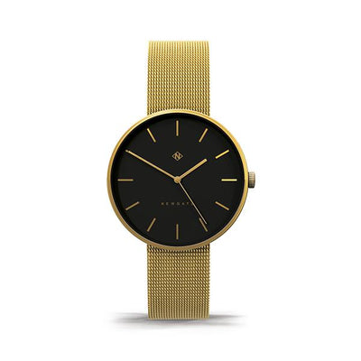 Gold Milanese Mesh Watch - Minimalist Black Dial - Modern Contemporary Men's Women's - Newgate Drumline WWMDLNRB039MVB (front)
