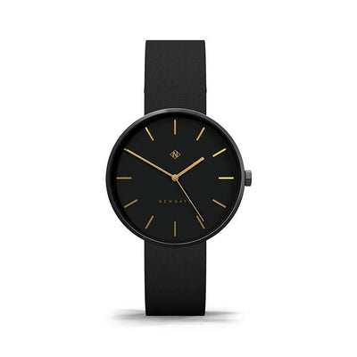 Minimalist Black-on-Black Leather Watch - Modern Contemporary Men's Women's - British Design - Newgate Drumline WWMDLNRK039LK (front)