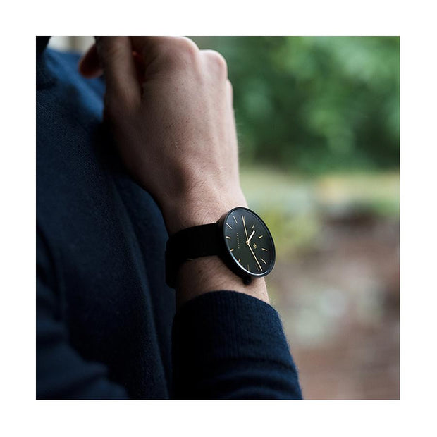 Minimalist Black-on-Black Leather Watch - Modern Contemporary Men's Women's - British Design - Newgate Drumline WWMDLNRK039LK (lifestyle 2)