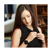Minimalist Black-on-Black Leather Watch - Modern Contemporary Men's Women's - British Design - Newgate Drumline WWMDLNRK039LK (lifestyle 1)
