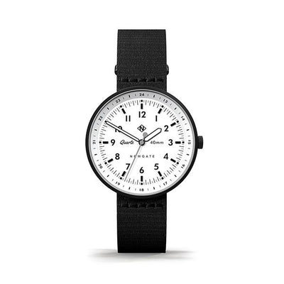 Men's Black Aviator Watch - Canvas Strap - Modern Contemporary British Design - Newgate Torpedo WWMDLNRK047CK (front)