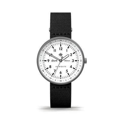 Men's Black & Steel Aviator Watch - Canvas Strap - Modern Contemporary British Design - Newgate Torpedo WWMDLNRS047CK (front)