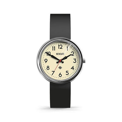 Retro Black Watch - Easy-Read Chrome Dial Silicone Strap - Men's Women's -British Design - Newgate Electric WWMELCPS011SK (front)