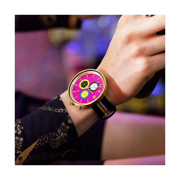 Women's Chronograph Watch – Black Leather pink Stripe – British Designed Quartz Analog - Modern Subdial - Newgate WWG6SPUS - PUSSY - style