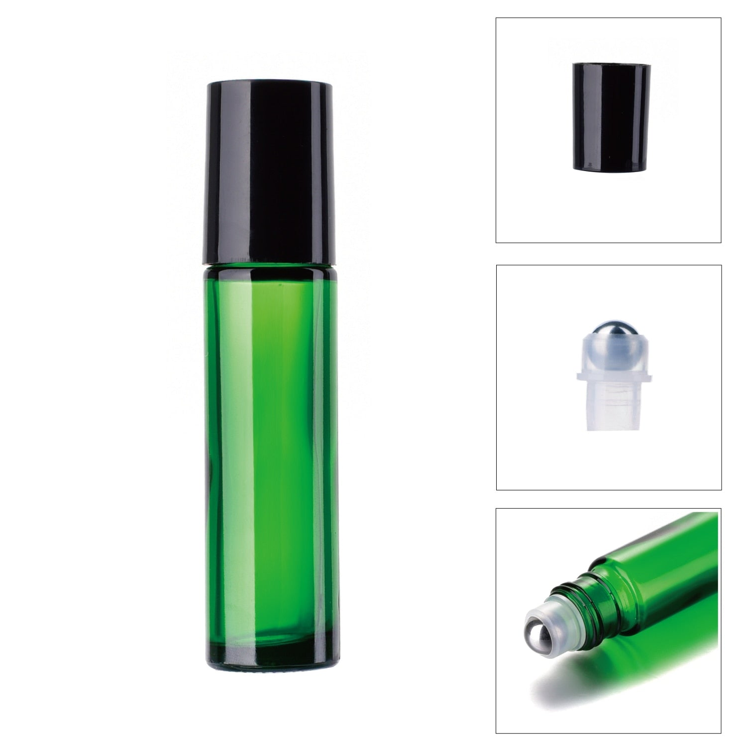 Glass Aromatherapy Essential Oil Roller Roll On Bottle (10ml): Refillable,  Portable Travel Cosmetic Container, Makeup Tool