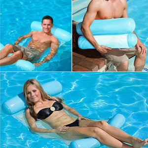 Outdoor Floating Sleeping Bed Inflatable Water Hammock Pool Swimming Lounger Backrest
