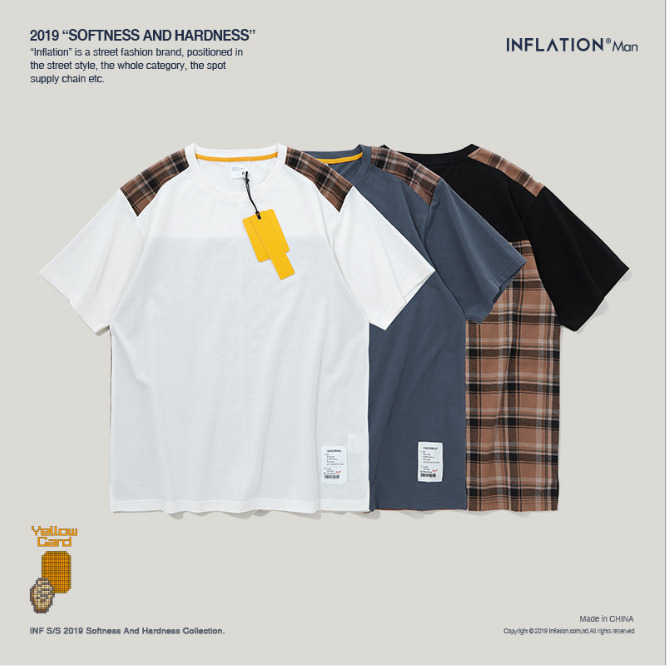 INF™ 2019 spring and summer new plaid stitching short-sleeved T-shirt