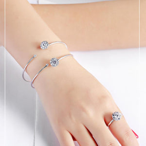 【Hot sale more than 2,000pcs】2018 Fashion Flower Silver Ring and Bracelet