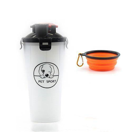 2-In-1 Pet Travel Water & Food Bottle with 2 Foldable Bowls