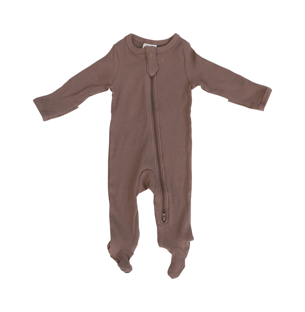Organic Cotton Ribbed Zipper Onesie - Plum